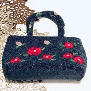 Hand Beaded Handbag with Embroidered Roses